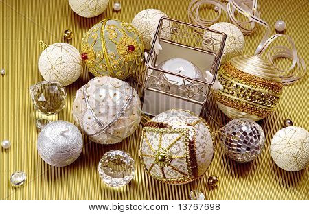 Wonderful Christmas composition: beautiful balls and candle