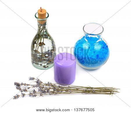lavender water salt and aromatic candle isolated on white background