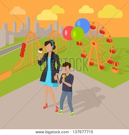 Family holiday in the amusement park vector illustration. City entertainment in the summer vacation concept. Child birthday walk. Woman and child eating ice-cream near attractions. .