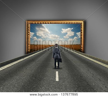 Businessman on a highway get in a painting. 3d painting