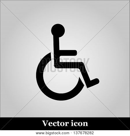 Disabled Handicap Icon on grey background, vector illustration