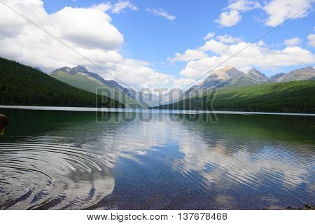 Lake, Bowman, Glacier, Park, National, Sky, Water, Montana, Outdoors, Nature, Blue, Green, Tree, Nob