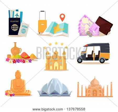 Travel India illustration in flat style design. Summer vacation in exotic countries concept. Taveler documents, money, buildings, food, transport, hotel, navigation, monuments vector icons.