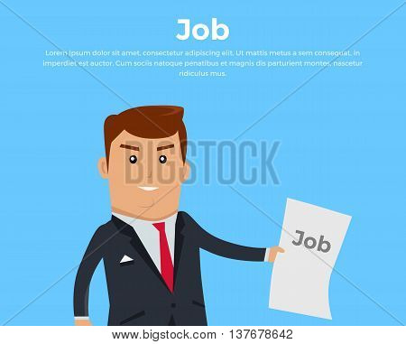 Job search concept banner. Job offer. Open vacancy vector illustration in flat style design. Boss in business suit holding a sheet with the words job on blue background. Recruiter professional