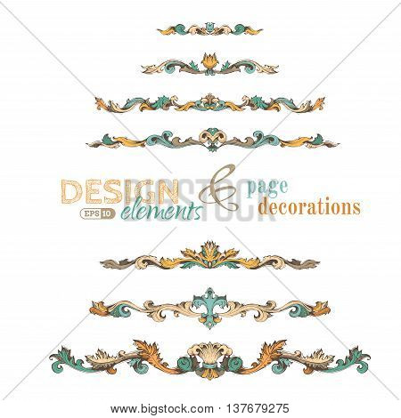 Vector Set Of Vintage Design Elements And Page Decorations.