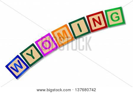 A collection of wooden block letters spelling Wyoming over a white background