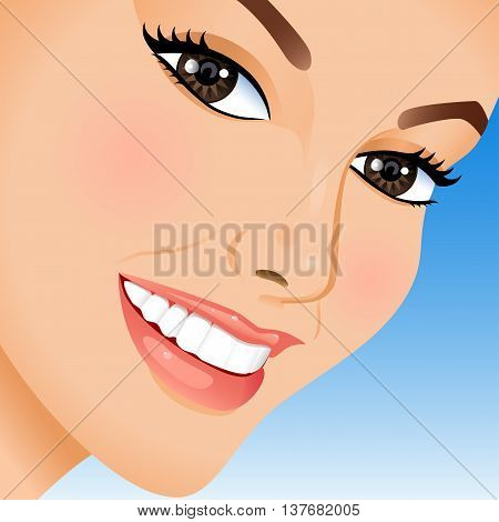Portrait of  beautiful woman on blue background