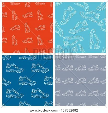 Vector Set Of Seamless Shoes Patterns.