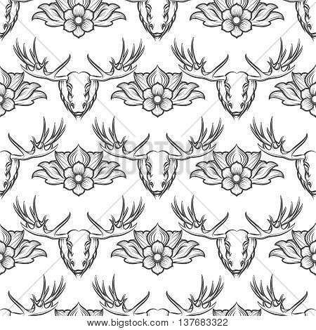 Monochromic seamless pattern with elk and flowers. Vector illustration