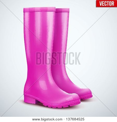 Pair of violet rubber rain boots. Symbol of garden wok or autumn and weather. Vector illustration Isolated on white background.