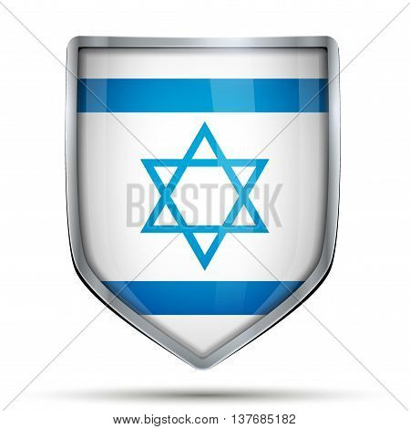 Shield with flag Israel. Editable Vector Illustration isolated on white background.