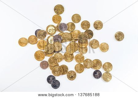 Malaysia currency coins in white isolated background