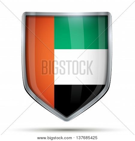 Shield with flag UAE. Editable Vector Illustration isolated on white background.