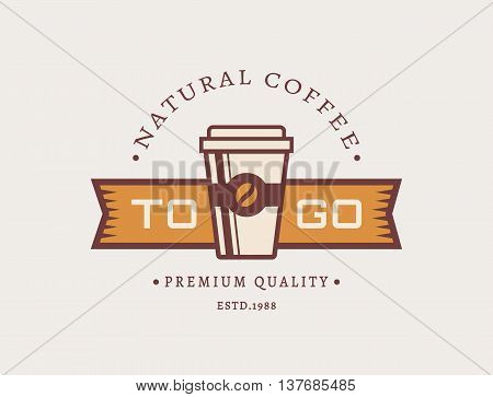 Coffee to go logo. Template in retro style for coffee shop or cafe. Logotype isolated on clean background. Vector concept badge.