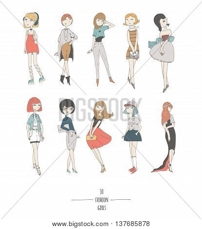 Hand drawn set with cute fashion girls in dresses with different hair color and hairstyle in evening and day apparel. Isolated on white fun doodle cartoon every cute girl posing in various way.