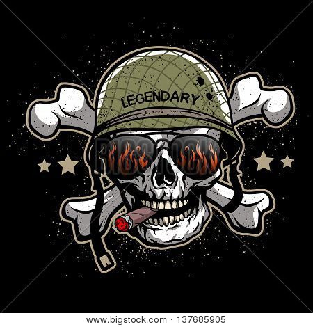 Skull in sunglasses and a military helmet. The illustration on the theme army.