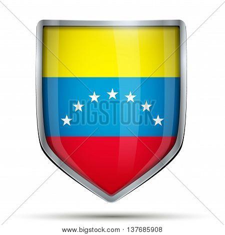 Shield with flag Venezuela. Editable Vector Illustration isolated on white background.