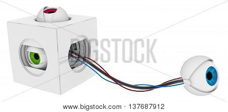 Robotic round eyeballs white box hidden 3d illustration horizontal over white isolated