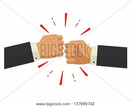 Two fists together vector illustration, two hands in air bumping together, punching label, fighting cartoon gesture, modern design sign isolated