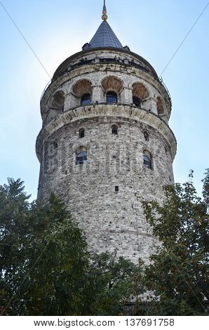 Galata Tower a fortress located in the Galata district of Istanbul. The structure was built in 528 years it is among the most important symbols of the city.