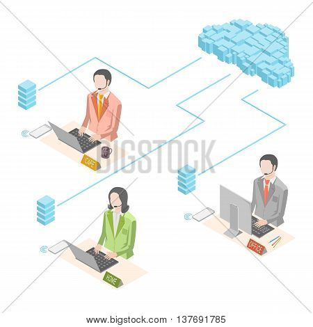 Isometric infographic the use of internet technology for modern business. Woman working at home. Men working at the office and cafe. All staff communicates via the cloud.