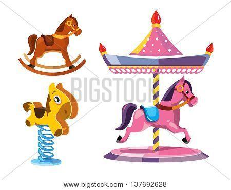 vector illustration set of diferent rocking litle horses isolate on white background.