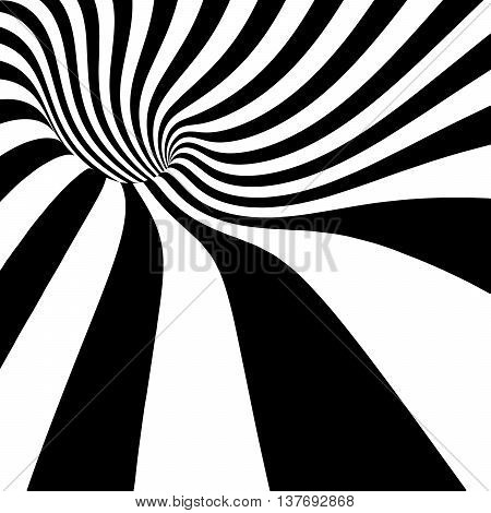 3d vector striped spiral abstract tunnel background. Twisted rays. Striped tunnel. Spiral hole. Vector illustration.