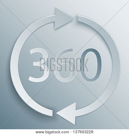 360 sign with two arrows in 3d, paper and origami style with shade. Geometry math symbol. Full rotation.