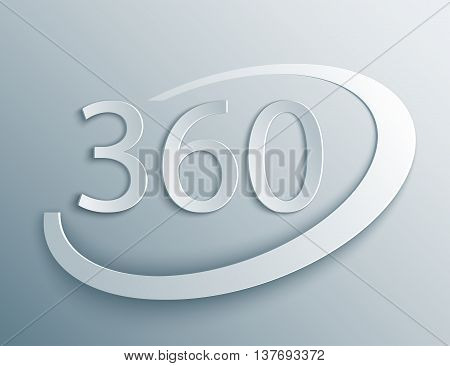 360 sign in 3d, paper and origami style with shade. Geometry math symbol. Full rotation.