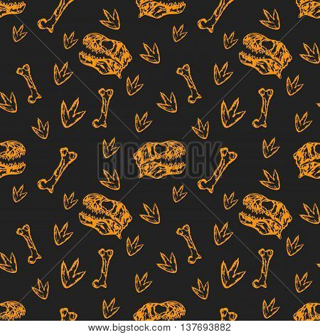 Vector seamless orange Dinosaurs pattern with bones