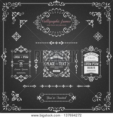 Ornate chalkboard frames and scroll elements for weddings, anniversaries, engagements, save the date announcements, thank you notes or any special occasion.