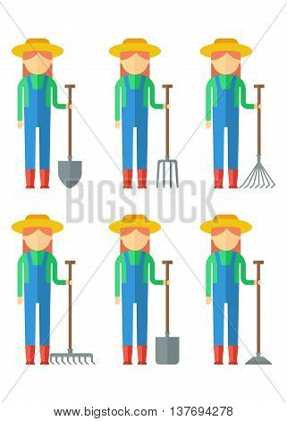 Set Of Farmers Woman