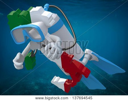 Map Of Italy With Diving Goggles And Flippers