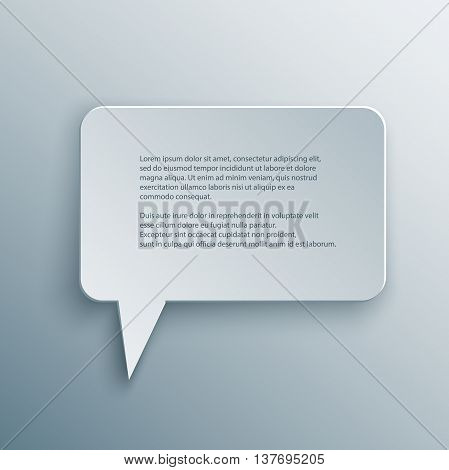 Paper Cutout square speech bubble with shade in 3d and origami style. Vector illustration.