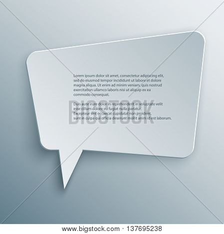 Paper Cutout polygon speech bubble with shade in 3d and origami style. Vector illustration.