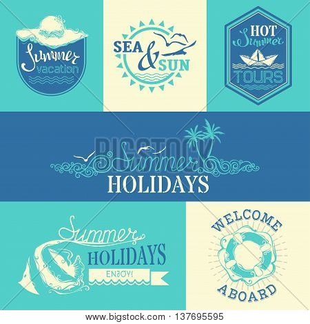 Vector Set Of Summer Labels And Emblems.