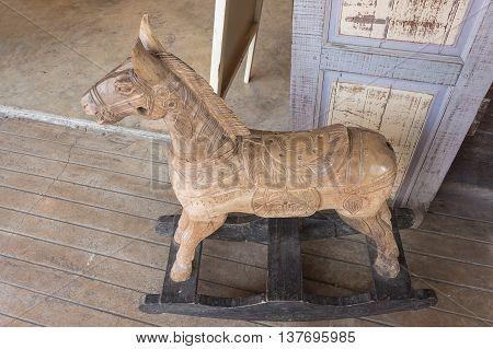 wooden rocking horse Children toy, Brown rocking seesaw vintage