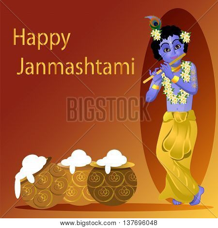 Birthday Krishna Happy Krishna . Krishna plays the flute, vector illustration