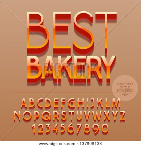 Set of slim reflective alphabet letters, numbers and punctuation symbols. Vector glossy plastic icon with text Best bakery. File contains graphic styles