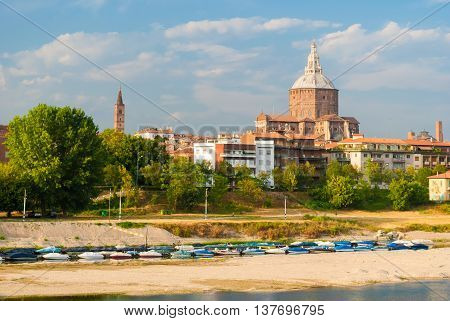 Skyline of Pavia with the big dome of the cathedral