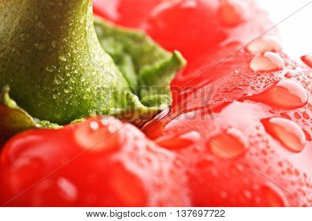 Closeup Isolated Bell Pepper On The White Background