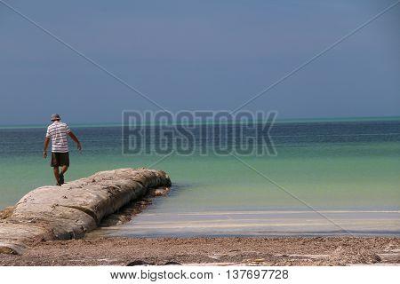 Boy Walking In Absolute Calm