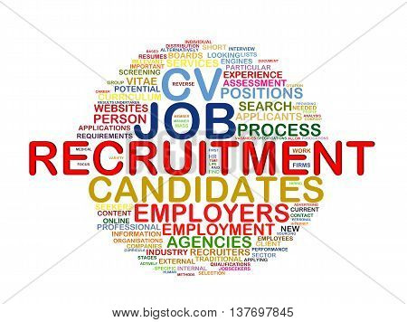 Illustration of circular word tags wordcloud of recruitment