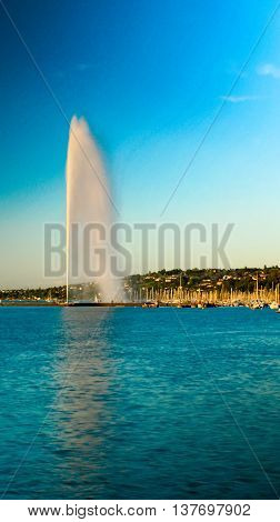 View Of Jet D'eau And The Rive Gauche Waterfront Geneva, Switzerland