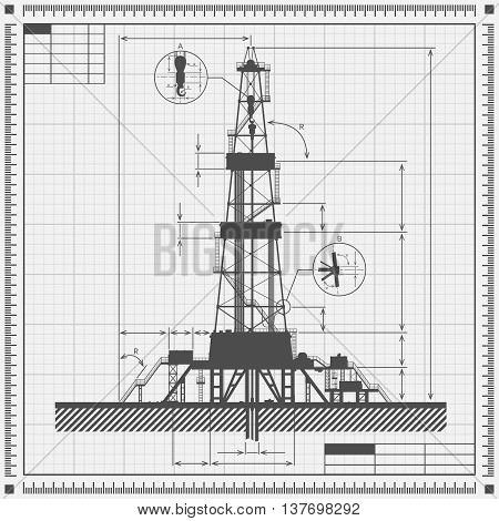 Blueprint of oil drilling rig silhouette. Detail vector illustration.