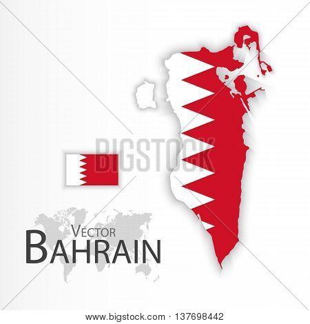 Bahrain ( Kingdom of Bahrain ) ( flag and map ) ( transportation and tourism concept )