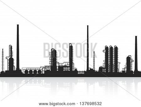 Oil refinery or chemical plant silhouette. Detail illustration of petroleum plant isolated on white background. Vector illustration.