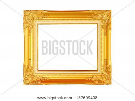 Gold frame placed on a white background.