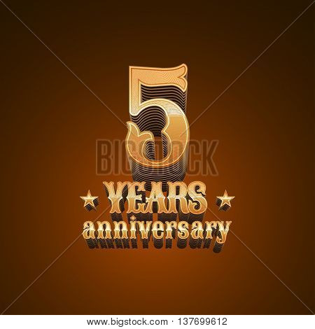 5 years anniversary vector logo. 5th birthday decoration design element sign emblem symbol in gold