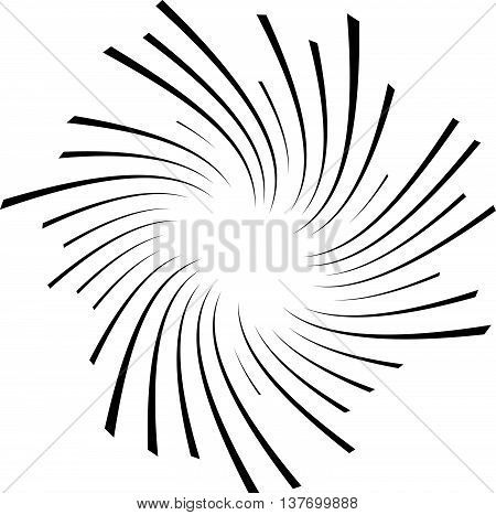 Radial, Radiating Lines With Rotation, Spiral Effect. Abstract Element Isolated On White.